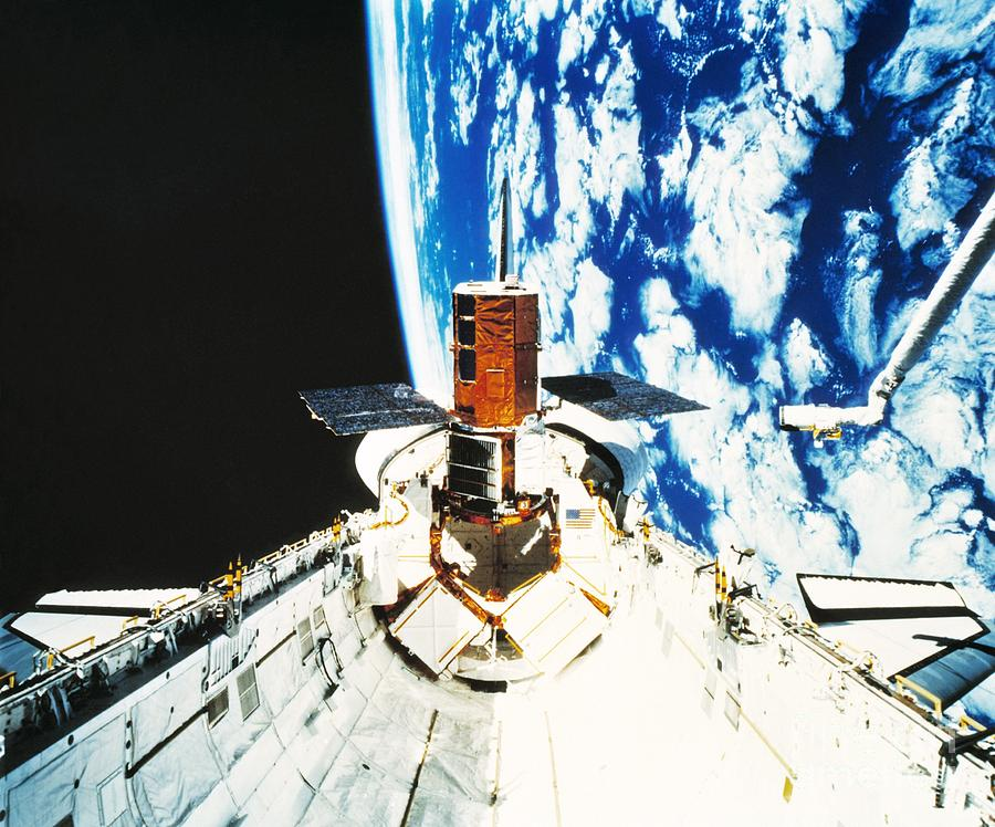Mission 41-c Photograph - Repaired Solar Maximum Misson Onboard by NASA / Science Source