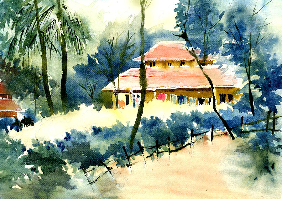 Landscape Painting - Rest House by Anil Nene