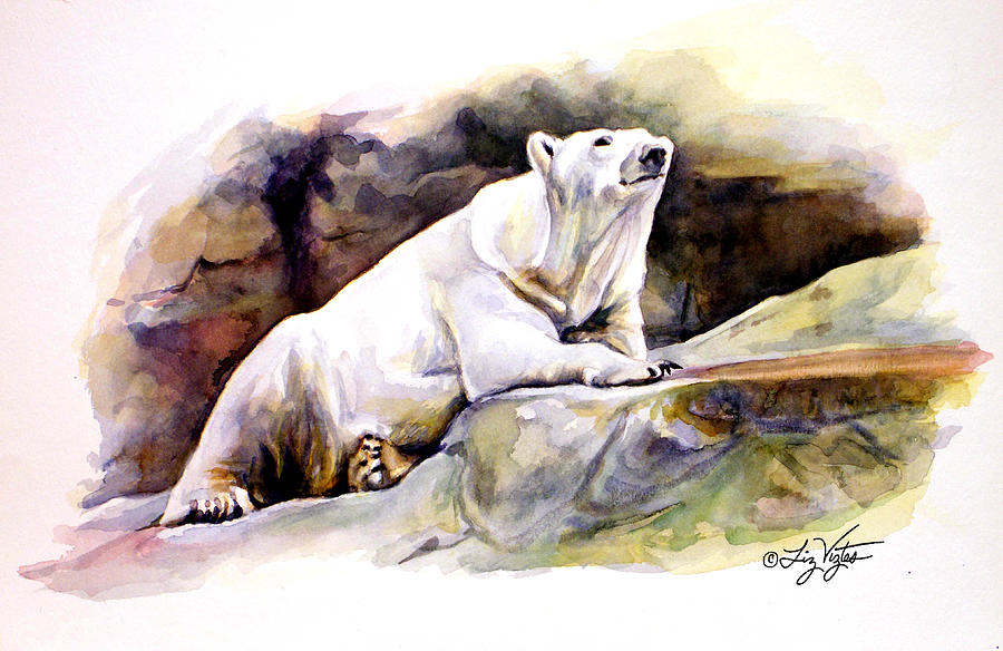 Liz Viztes Painting - Resting Polar Bear by Liz Viztes