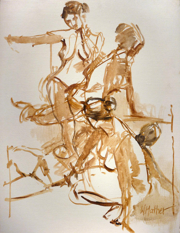 Nude Figure Painting - Restless by Bill Mather