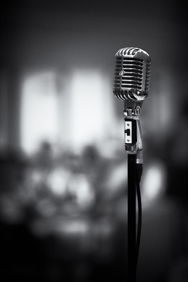 Retro Microphone On A Blur Background Bw Photograph by ...