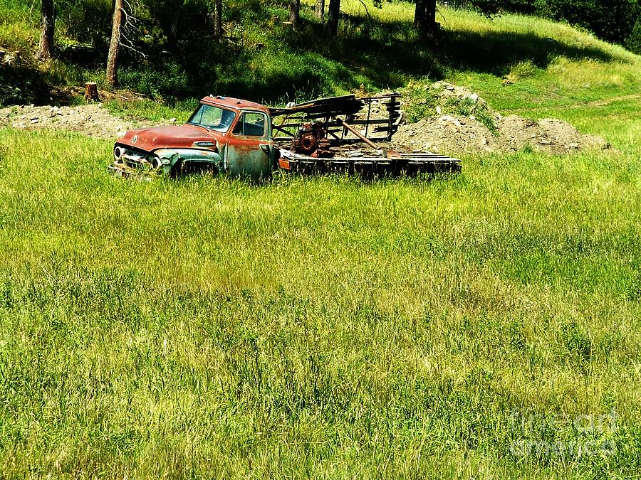 Old Truck In Field Photograph - Return To Nature by Theresa Willingham