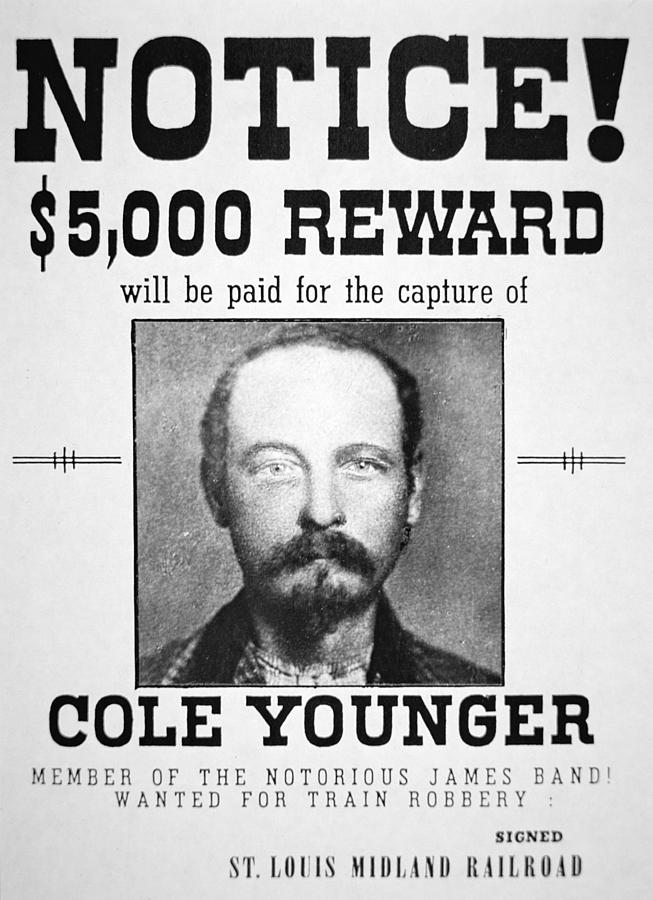 Confederate; Outlaw; James Younger Gang; Member; Mugshot; Criminal; Western; Wild West; Old West; Portrait; Male; Typography Painting - Reward Poster For Thomas Cole Younger by American School