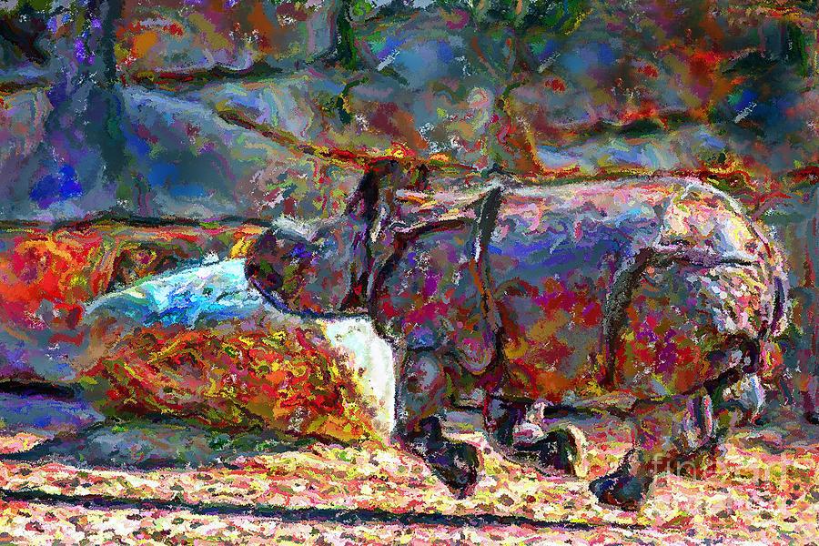 Rhino On The Run Digital Art