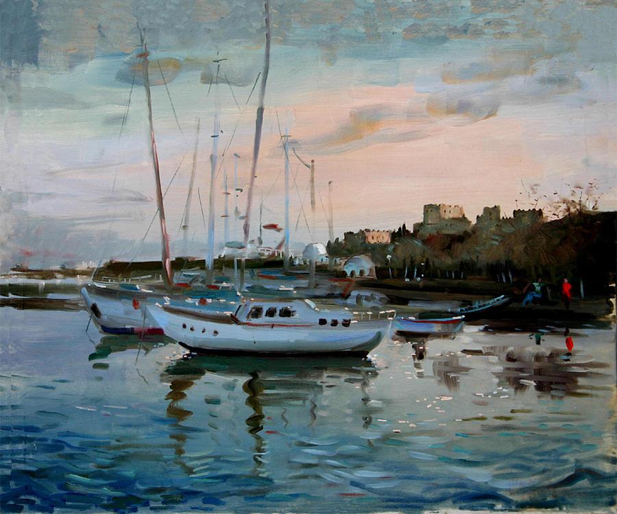 Rhodes Greece Painting - Rhodes Mandraki Harbour by Ylli Haruni