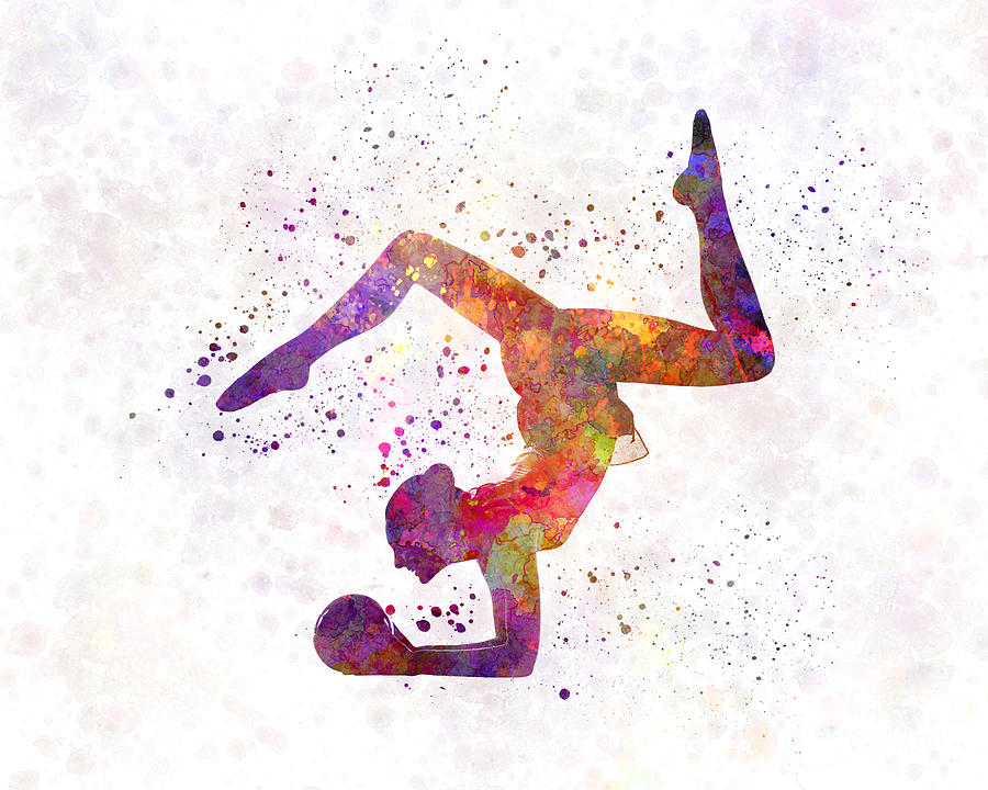 Rhythmoc Gymnastics Woman Silhouette Painting By Pablo Romero