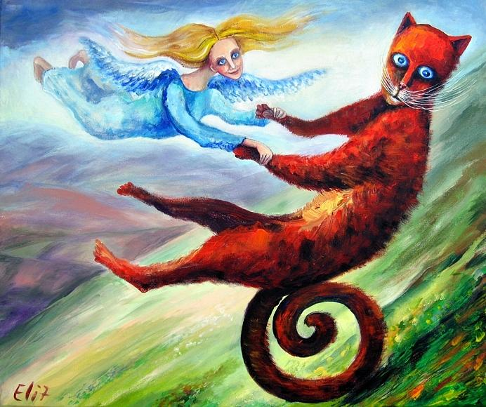 Slope Painting - Ride The Tail by Elisheva Nesis