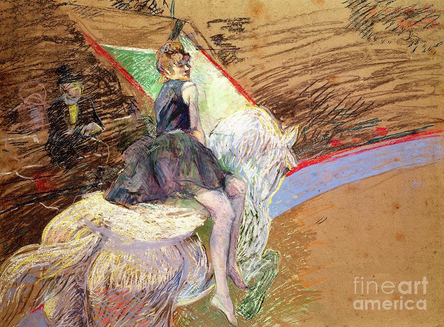 The Pastel - Rider On A White Horse by Henri de Toulouse Lautrec