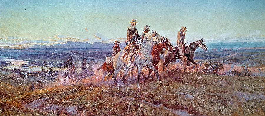 Riders Of The Open Range (oil On Canvas) By Charles Marion Russell (1865-1926) Painting - Riders Of The Open Range by Charles Marion Russell