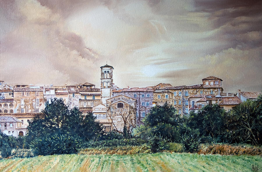 Field Painting - Rieti Panoramic by Michel Angelo Rossi