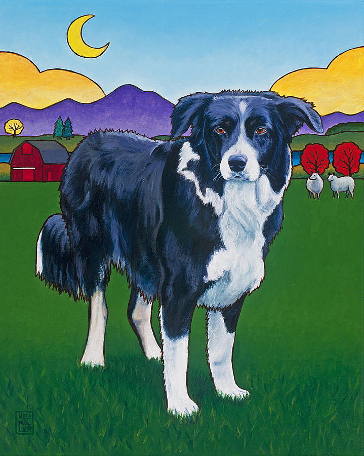 Border Collie Painting - Riley by Stacey Neumiller