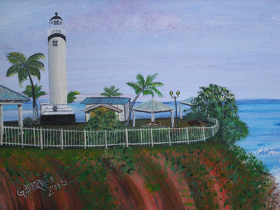 Lighthouse In Rincon By The Ocean Of The Island Of Puerto Rico Painting - Rincons Lighthouse by Gloria E Barreto-Rodriguez