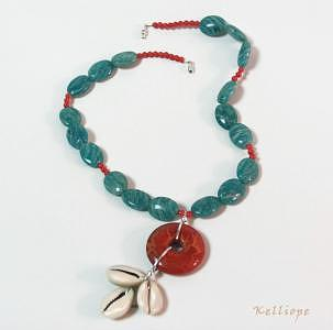 Rio   Amazonite Coral And Cowry Pendant Necklace Jewelry