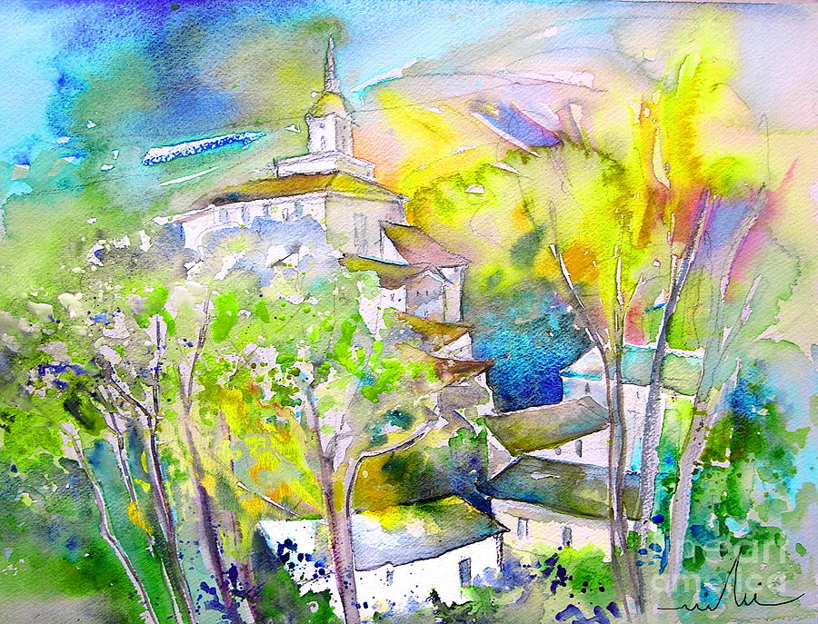 Watercolour Travel Painting Of A Village In La Rioja Spain Painting - Rioja Spain 04 by Miki De Goodaboom