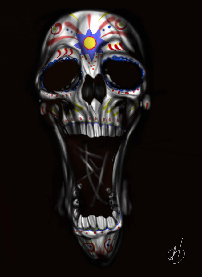 Skull Painting - R.i.p by Pete Tapang