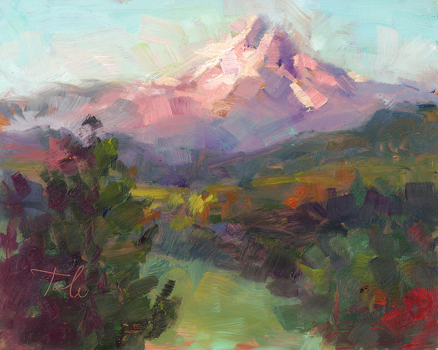 Mountain Painting - Rise And Shine by Talya Johnson