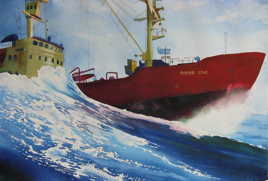 Ocean Painting - Rising Star by Karen Stark