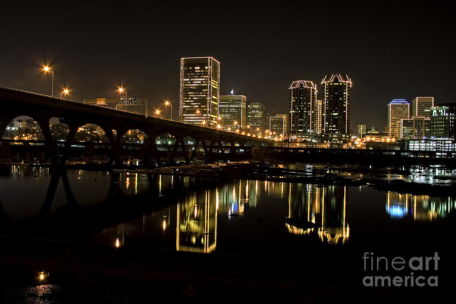 Richmond Cityscape Photograph - River City Lights At Night by Tim Wilson