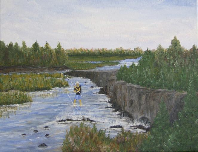 Fishing Painting - River Fishin by Linda Bennett