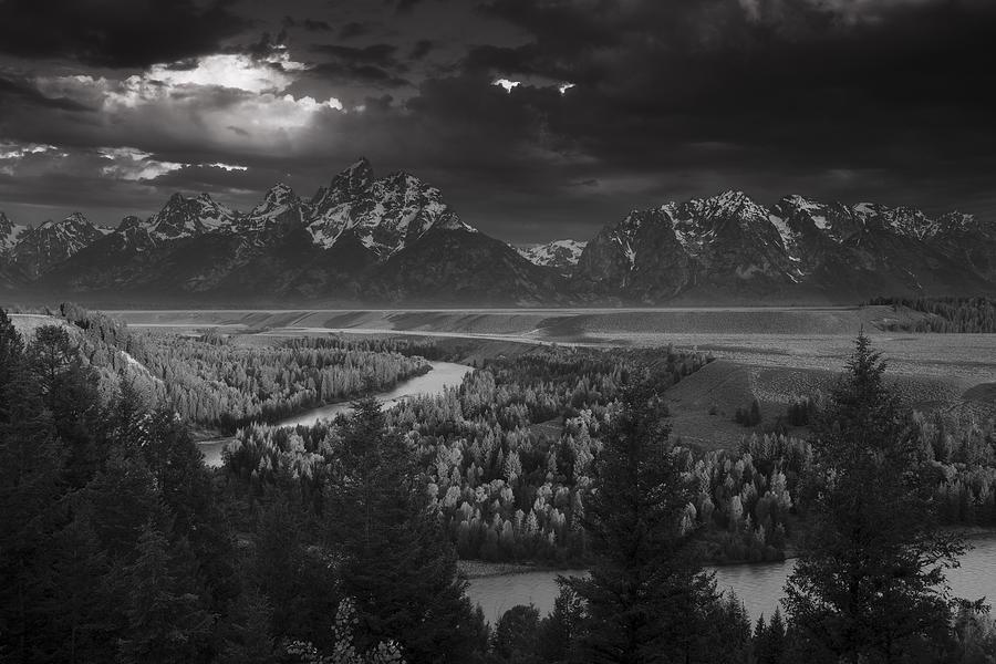 Teton Photograph - River Thru The Mountains by Andrew Soundarajan