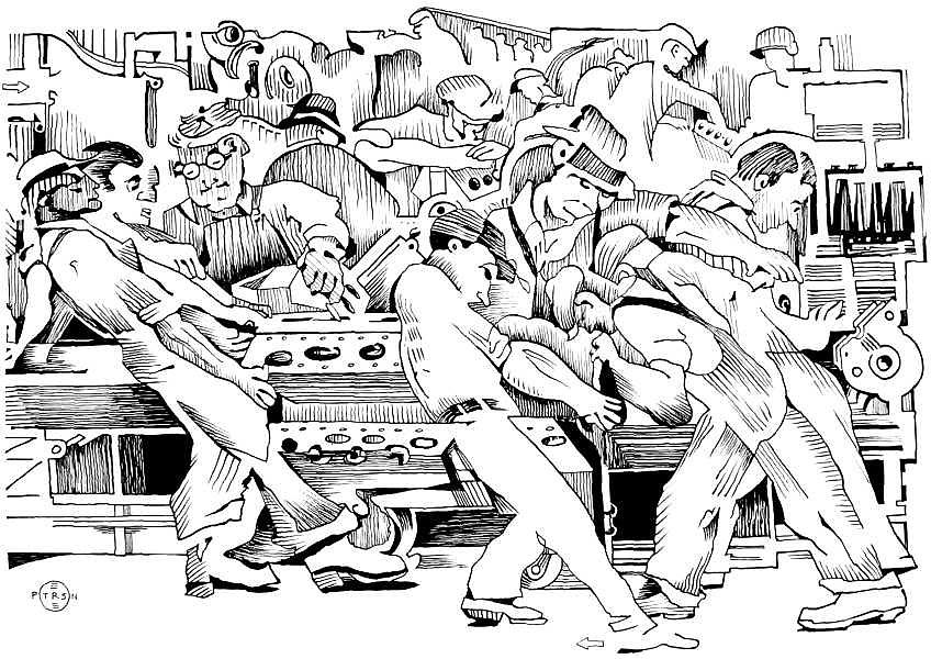Automobile Drawing - Rivera Auto Industry by Gary Peterson