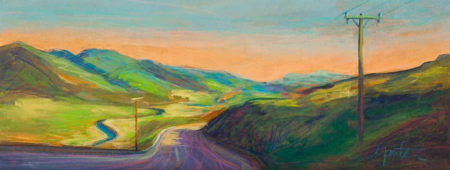 Power Lines Painting - Road To Horse Tooth by Athena  Mantle