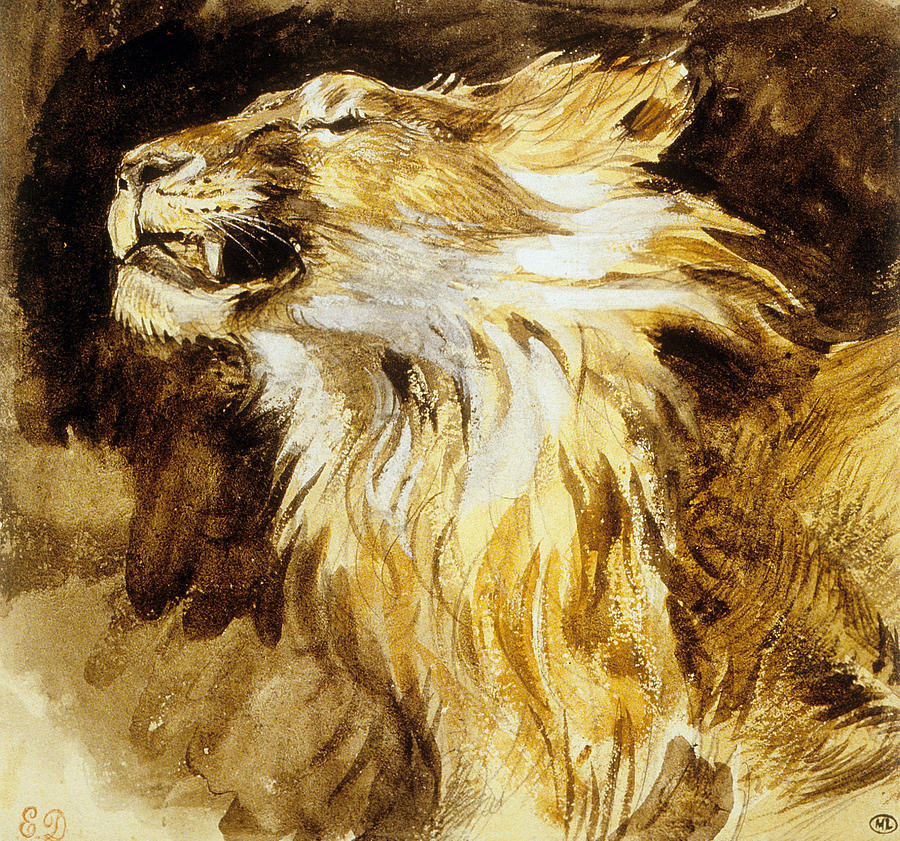 Roaring Lion Painting by Ferdinand Victor Eugene Delacroix