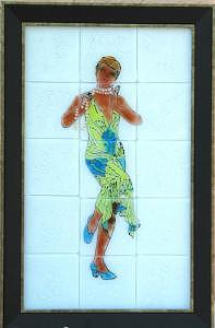 This Is A Worth Design From The Twenties With Fused Glass Tiles Glass Art - Roaring Twenties by Bobbie Matus