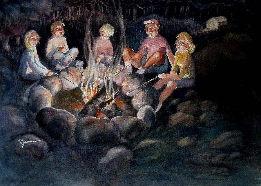 Roasting Marshmallows Painting by Marilyn Jacobson