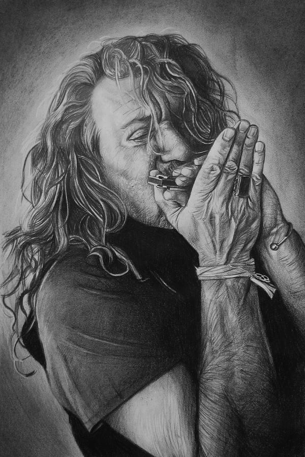 Robert Plant Led Zeppelin Harmonica Music Rock Portrait Charcoal Black And White Art Drawing - Robert Plant by Steve Hunter