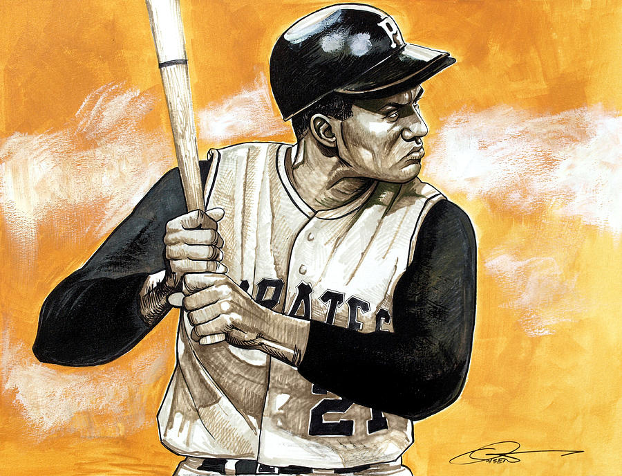 Roberto Clemente Drawing - Roberto Clemente by Dave Olsen