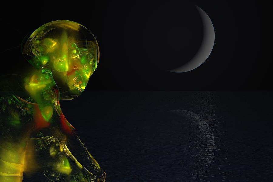 Abstract Digital Painting Digital Art - Robot Moonlight Serenade by David Lane