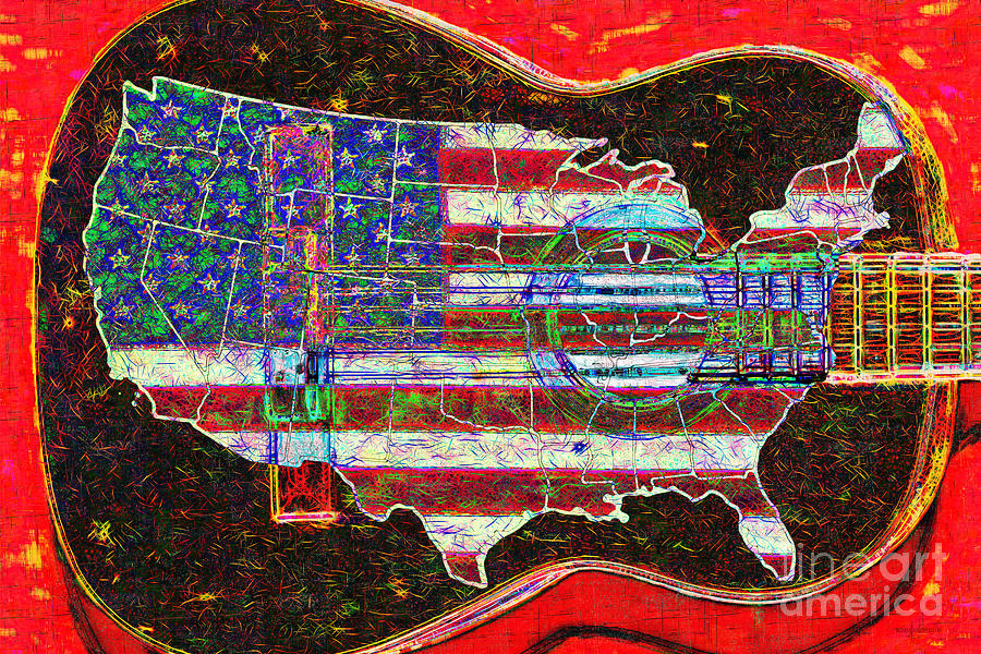 Music Photograph - Rock And Roll America 20130123 Red by Wingsdomain Art and Photography