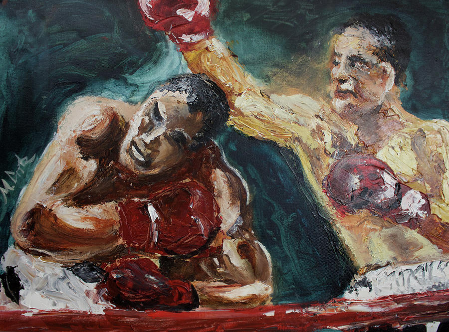 Rocky marciano vs joe walcott painting by michael cook for Battle of marciano mural