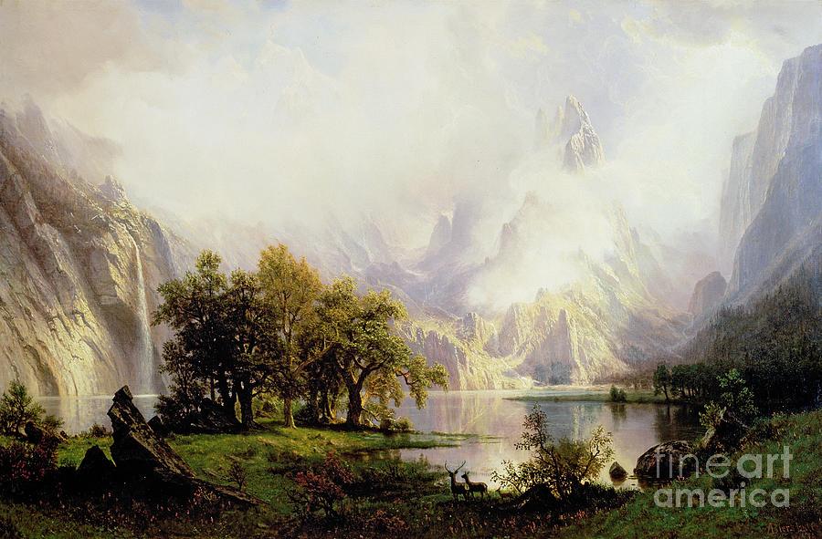 Landscape Painting - Rocky Mountain Landscape by Albert Bierstadt