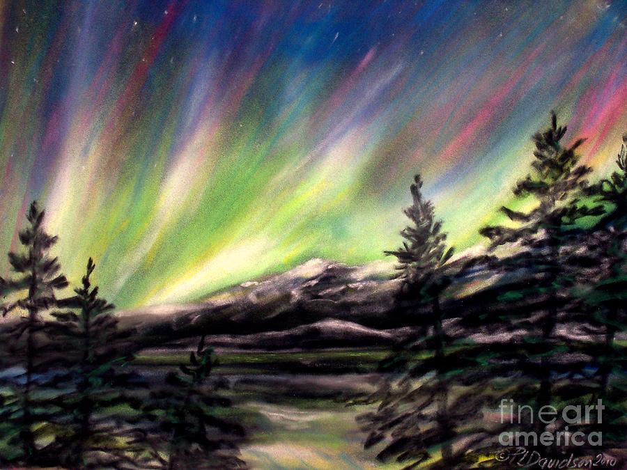 Rocky Mountain Northern Lights Pastel By Patricia L Davidson