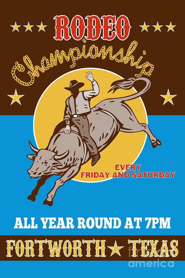 Rodeo Digital Art - Rodeo Cowboy Bull Riding Poster by Aloysius Patrimonio