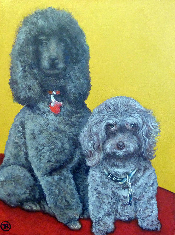 Pet Portrait Painting - Roger And Bella by Tom Roderick