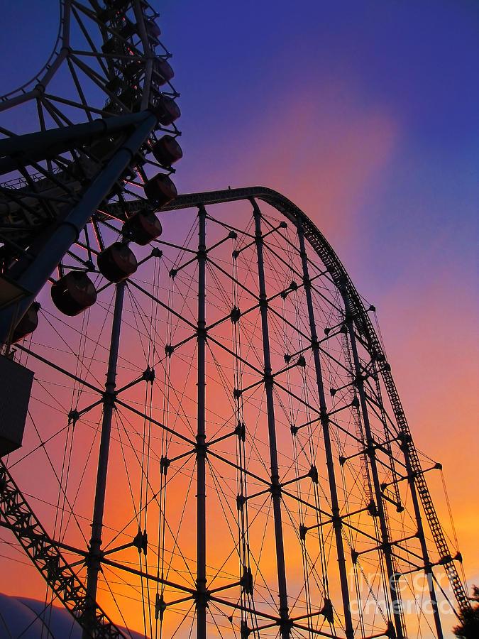 Amusement Park Photograph - Roller Coaster At Sunset by Eena Bo
