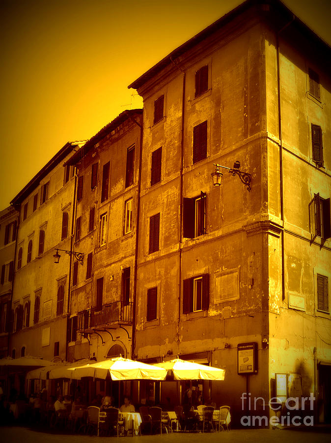 Italy Photograph - Roman Cafe With Golden Sepia 2 by Carol Groenen