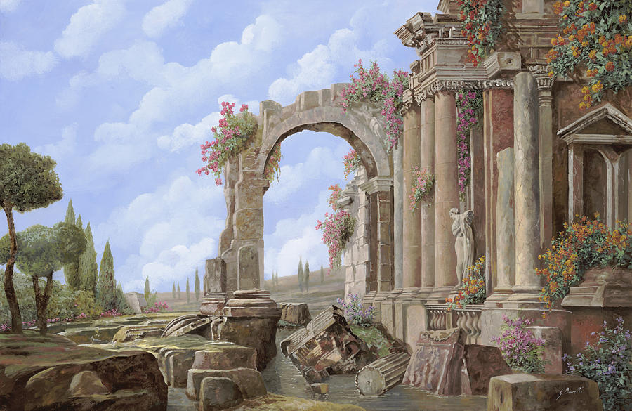 Arch Painting - Roman Ruins by Guido Borelli