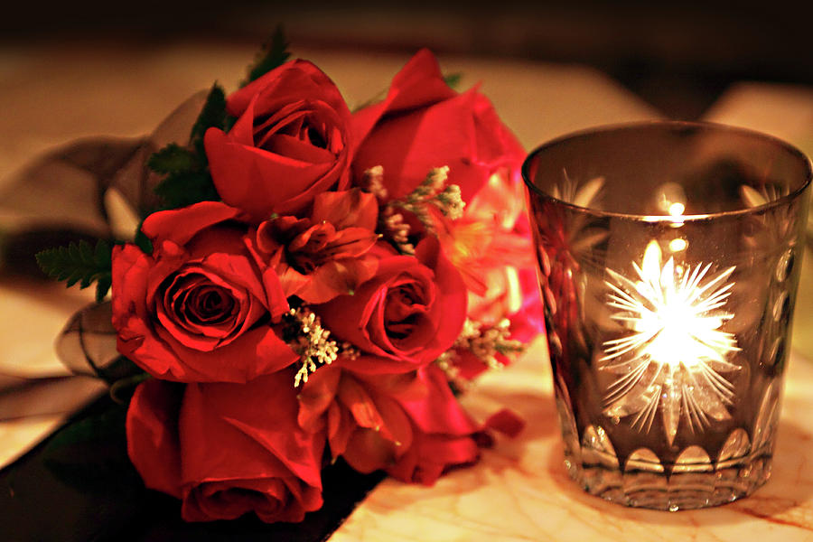 Romantic Red Roses In Candle Light Photograph By Linda Phelps