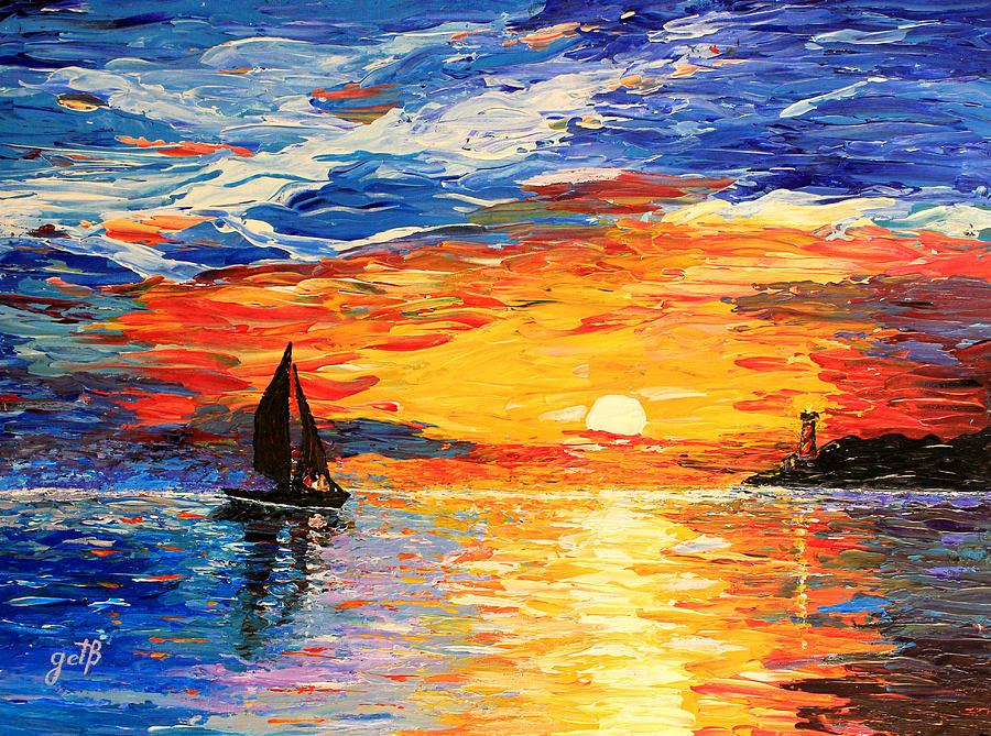 Seascape Painting - Romantic Sea Sunset by Georgeta  Blanaru