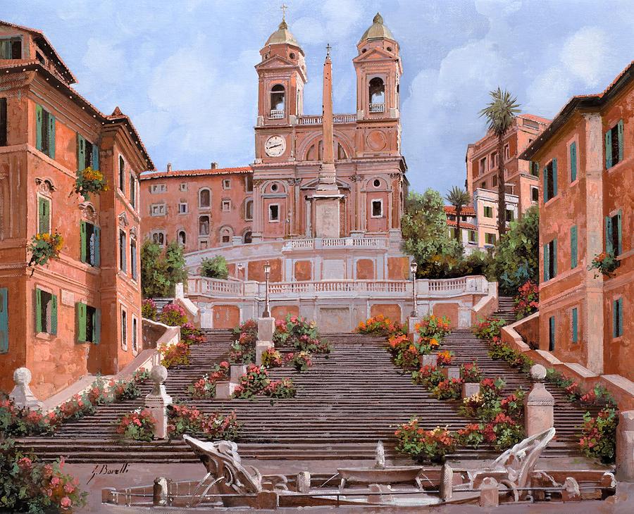 Rome Painting - Rome-piazza Di Spagna by Guido Borelli