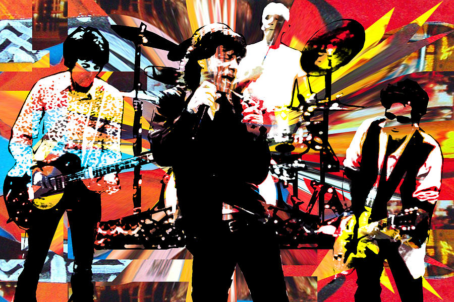 Rolling Stones Mixed Media - Ron Mick Charlie Keith by Kevin Newton