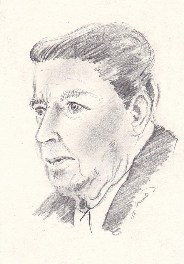 Reagan Drawing - Ronald Reagan by John Keaton