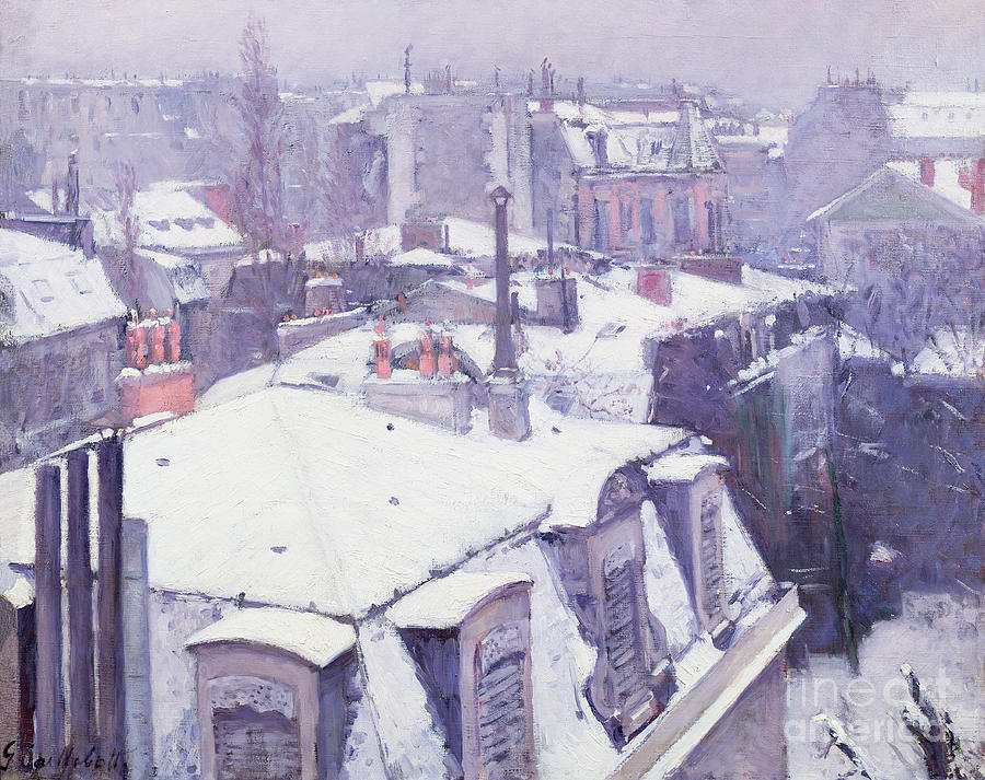 Snow Painting - Roofs Under Snow by Gustave Caillebotte