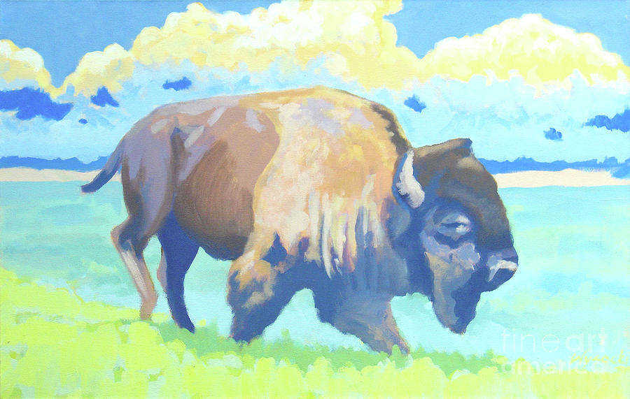 Bison Painting - Roosevelt Bull  by Stephen Wysocki
