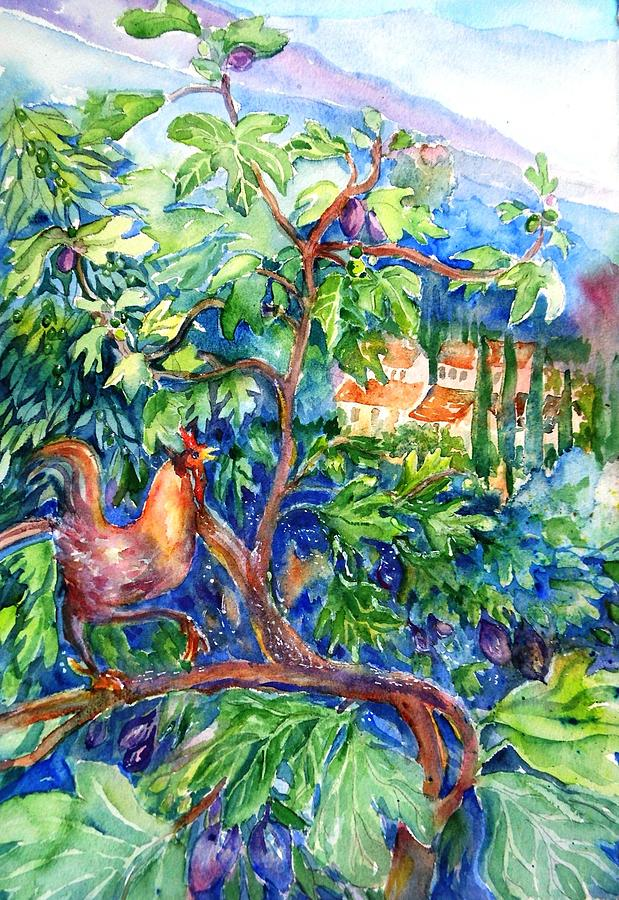 Rooster In A Fig Tree Tuscany Painting By Trudi Doyle