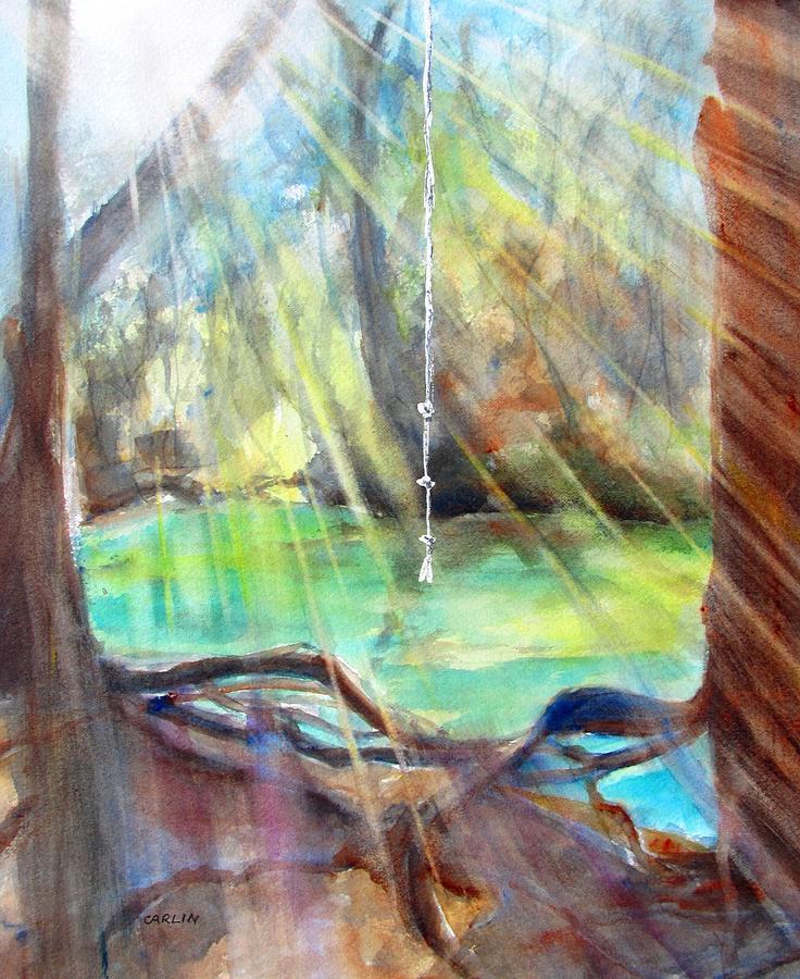 Landscape Painting - Rope Swing by Carlin Blahnik